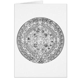 The Aztec Sun Calendar Circular Stone Design Cards
