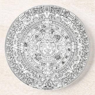 The Aztec Sun Calendar Circular Stone Design Drink Coaster
