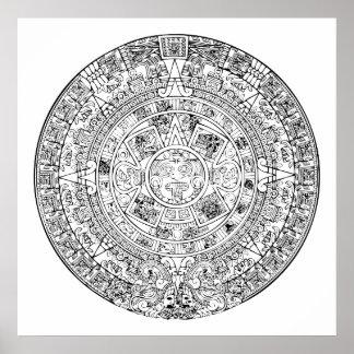 The Aztec Sun Calendar Circular Stone Design Poster