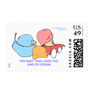 the baby tank loves you (and ice cream) postage