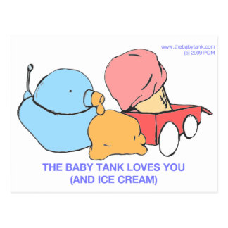 the baby tank loves you (and ice cream) post cards