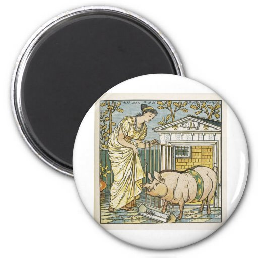 The Baby's Opera ~ Lady who Loved All Swine 2 Inch Round Magnet