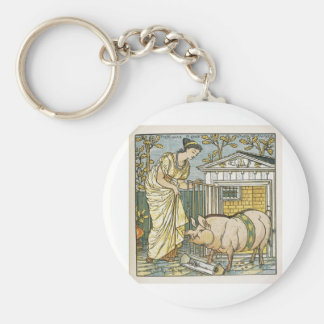 The Baby's Opera ~ Lady who Loved All Swine Basic Round Button Keychain
