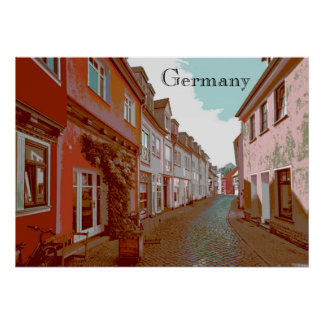 The Back Streets of Germany Travel Poster Style