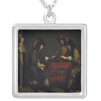 The Backgammon Players Square Pendant Necklace
