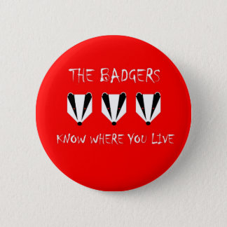 The badgers know where you live pinback button