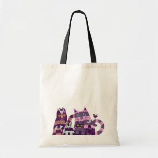 The bag with funny striped cats and birds picture