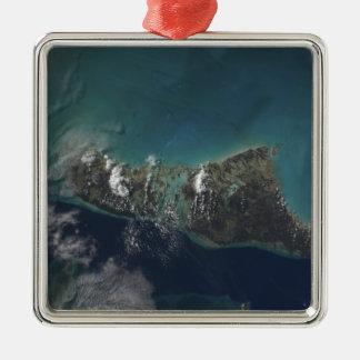 The Bahamas' Andros Island Square Metal Christmas Ornament