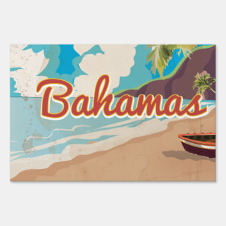 The Bahamas vintage Travel Poster. Lawn Sign