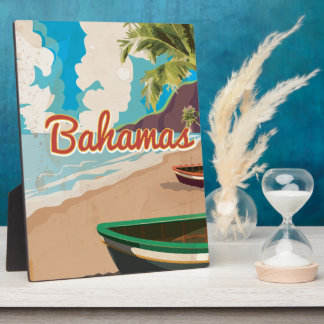 The Bahamas vintage Travel Poster. Plaque