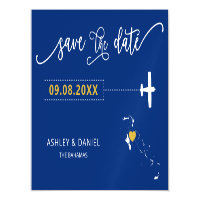 The Bahamas Wedding Save the Date Card, Map Magnetic Invitation