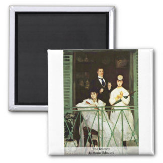 The Balcony By Manet Edouard 2 Inch Square Magnet