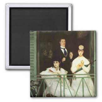 The Balcony - Edouard Manet 2 Inch Square Magnet