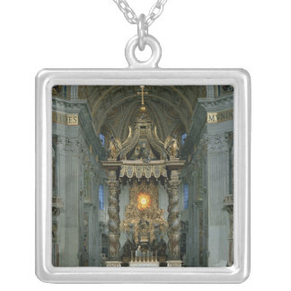 The Baldacchino, the high altar and the chair Silver Plated Necklace