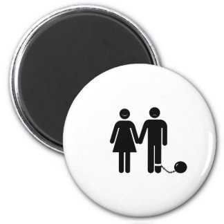 "The ""Ball and Chained"" groom 2 Inch Round Magnet"