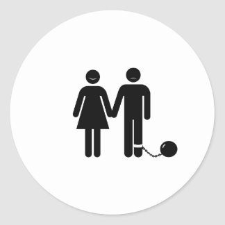 "The ""Ball and Chained"" groom Classic Round Sticker"