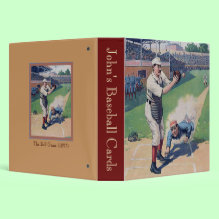 The Ball Game (1897) Binder - Wonderful vintage image of a baseball game with a runner sliding past a catcher. Personalize this binder for your baseball card collection.