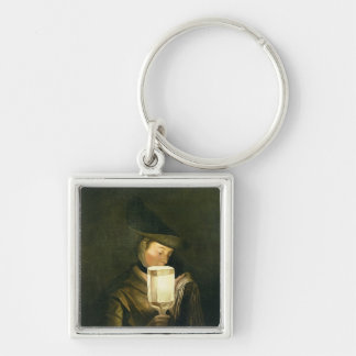 The Ballad Singer, c.1764 (oil on canvas) Silver-Colored Square Keychain