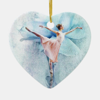The Ballerina Double-Sided Heart Ceramic Christmas Ornament