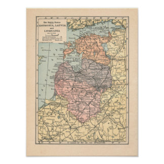 The Baltic States Vintage 1923 Map Poster