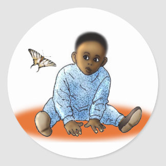 The Bambino and the Butterfly Round Sticker