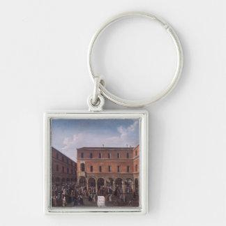 The Bancho del Giro in the Rialto, Venice Silver-Colored Square Keychain