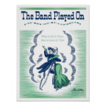 The Band Played On Vintage Songbook Cover Poster
