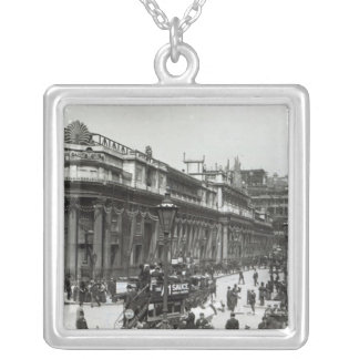 The Bank of England decorated for Queen Silver Plated Necklace