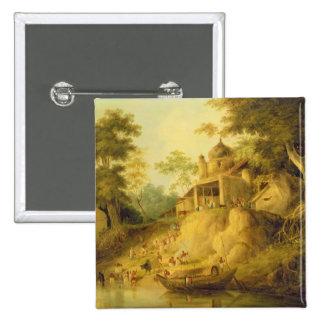 The Banks of the Ganges, c.1820-30 (oil on canvas) Pinback Button