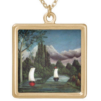 The Banks of the Oise, 1905 (oil on canvas) Gold Plated Necklace