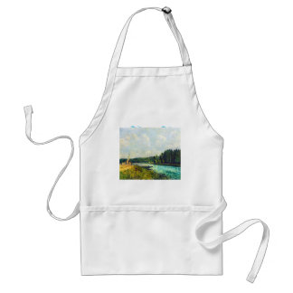 The banks of the Oise by Alfred Sisley Adult Apron