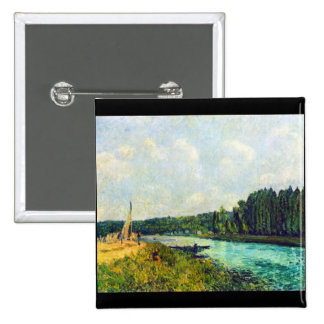 The banks of the Oise by Alfred Sisley Pinback Button
