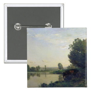 The Banks of the Oise, Morning, 1866 2 Inch Square Button