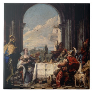 The Banquet of Anthony and Cleopatra, c.1744 (oil Ceramic Tile