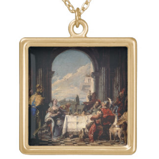 The Banquet of Anthony and Cleopatra, c.1744 (oil Square Pendant Necklace
