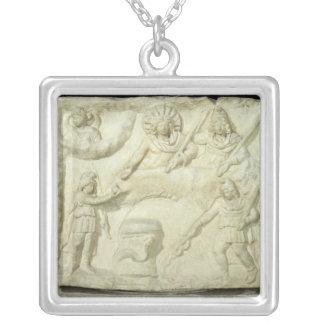 The Banquet of Mithras and the Sun Square Pendant Necklace