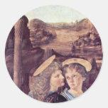 The Baptism Of Christ  By Andrea Del Verrocchio Round Sticker