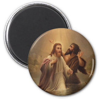 The Baptism of Christ by James Fuller Queen 1873 2 Inch Round Magnet