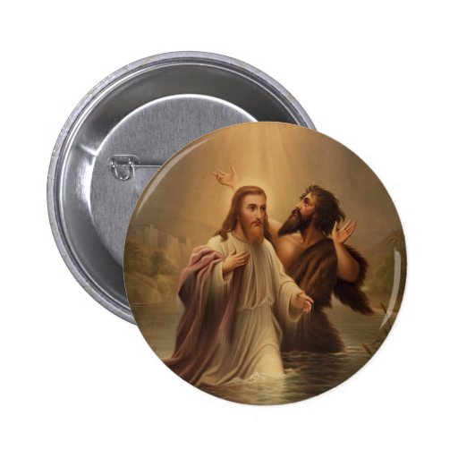 The Baptism of Christ by James Fuller Queen 1873 2 Inch Round Button