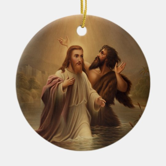 The Baptism of Christ by James Fuller Queen 1873 Ceramic Ornament