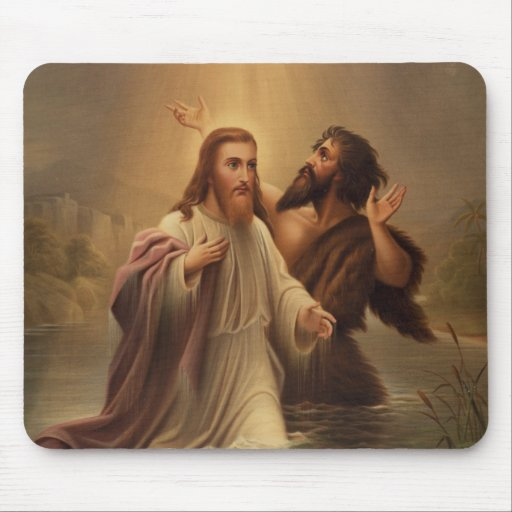 The Baptism of Christ by James Fuller Queen 1873 Mouse Pad
