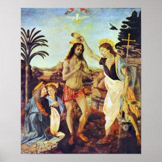 The Baptism of Christ by Leonardo da Vinci Posters