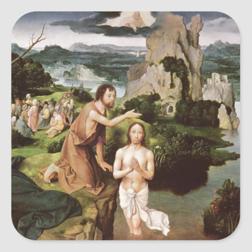 The Baptism of Christ, c.1515 Square Sticker
