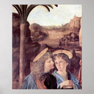 The Baptism of Christ detail by Leonardo da Vinci Posters