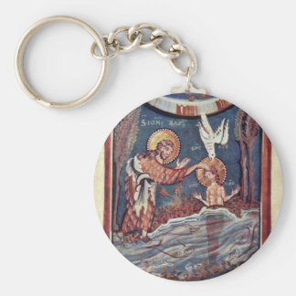 The Baptism Of Christ Detail By Meister Des Hitda- Keychain