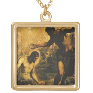The Baptism of Christ (oil on canvas) Gold Plated Necklace