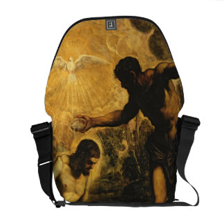 The Baptism of Christ (oil on canvas) Courier Bags