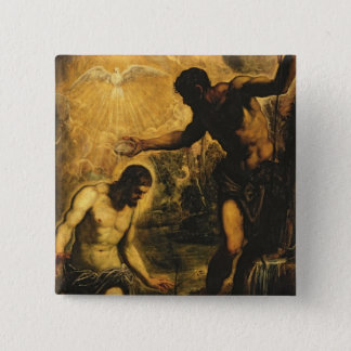 The Baptism of Christ (oil on canvas) Pinback Button