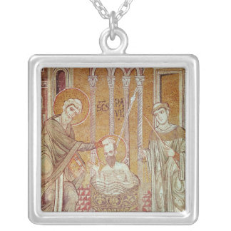 The Baptism of St. Paul By Ananias Square Pendant Necklace