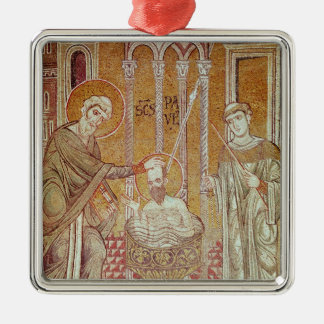 The Baptism of St. Paul By Ananias Square Metal Christmas Ornament